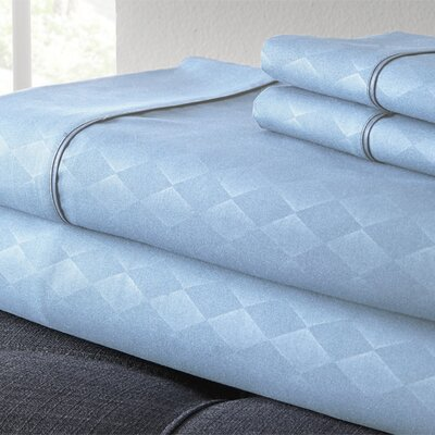 Kensington Hotel Diamond 3 Piece Embossed Sheet Set Size: Queen, Color: Light Blue