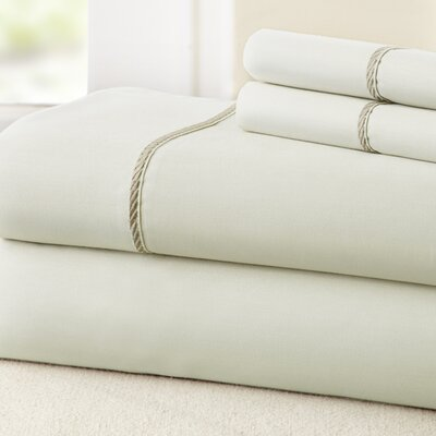 4 Piece 400 Thread Count 100% Cotton Sheet Set Color: Ivory / Taupe