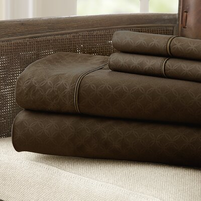 Kensington Hotel Polyester Sheet Set Size: Full, Color: Chocolate