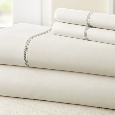 4 Piece 400 Thread Count 100% Cotton Sheet Set Color: White / Gray