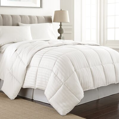 Stripe Reversible Down Alternative Comforter Color: White, Size: Full / Queen