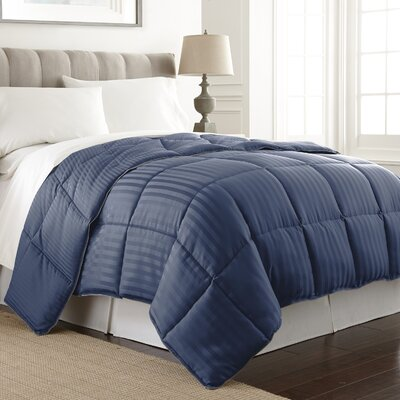 Stripe Reversible Down Alternative Comforter Color: Navy, Size: King