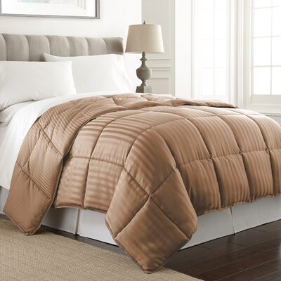Stripe Reversible Down Alternative Comforter Color: Chocolate, Size: Full / Queen