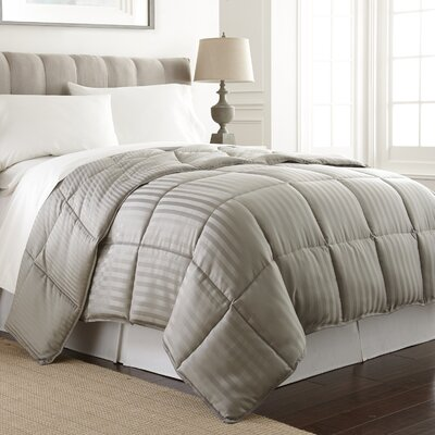 Stripe Reversible Down Alternative Comforter Color: Gray, Size: King