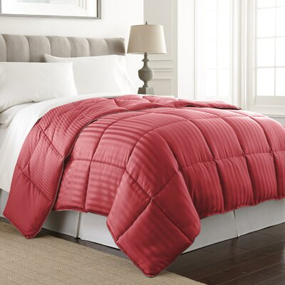 Stripe Reversible Down Alternative Comforter Color: Ruby / Burgundy, Size: Twin