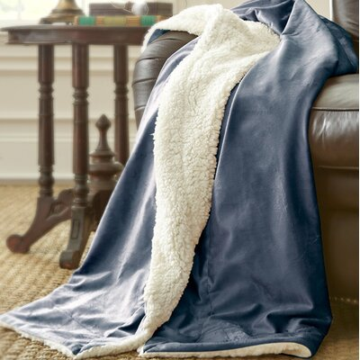 Sherpa Micro Mink Reverse Throw Color: Indigo Blue