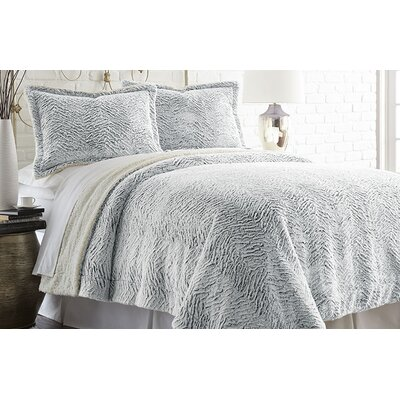 Klas 3 Piece Comforter Set Size: King, Color: Gray