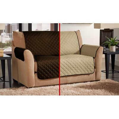 Box Cushion Loveseat Slipcover Color: Chocolate/Natural