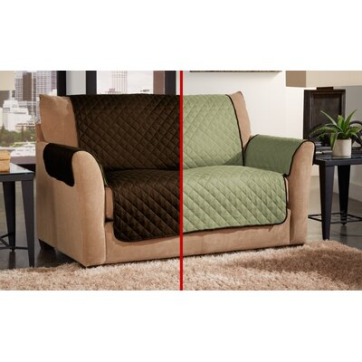 Box Cushion Loveseat Slipcover Color: Chocolate/Sage