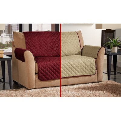 Box Cushion Loveseat Slipcover Color: Cranberry/Natural