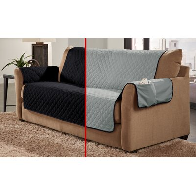 Water Resistant Sofa Slipcover Color: Black/Silver
