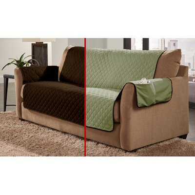 Water Resistant Sofa Slipcover Color: Chocolate/Sage