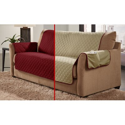 Water Resistant Sofa Slipcover Color: Cranberry/Natural