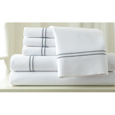 Italian Hotel 1000 Thread Count Sheet Set Color: White & Graphite, Size: King