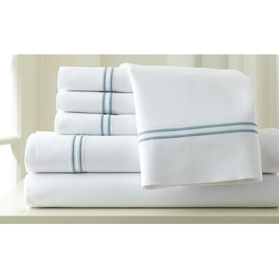 Italian Hotel 1000 Thread Count Sheet Set Color: White & Celestial Blue, Size: California King