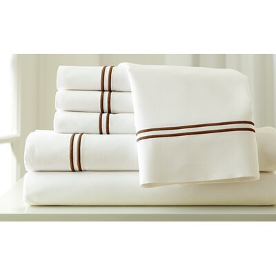 Italian Hotel 1000 Thread Count Sheet Set Color: Ivory & Mocha, Size: Queen
