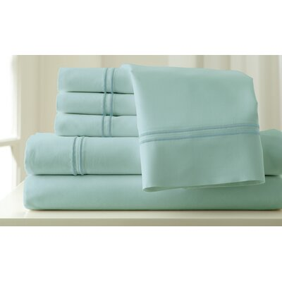 Italian Hotel 1000 Thread Count Sheet Set Color: Sterling Blue & Celestial Blue, Size: Queen