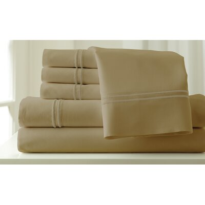 Italian Hotel 1000 Thread Count Sheet Set Color: Oxford Taupe & Taupe, Size: Queen