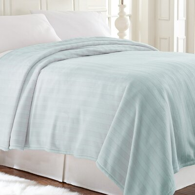 Allure Plush Damask Stripe Blanket Color: Pale Blue, Size: Queen