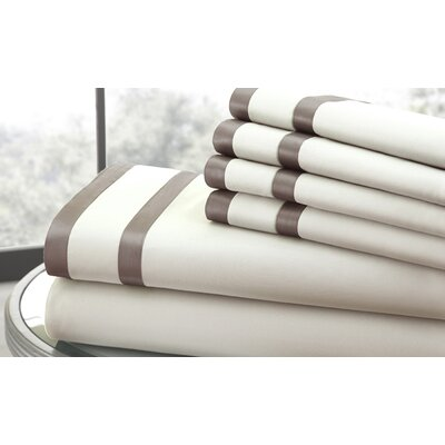 1000 Thread Count Sheet Set Size: Queen, Color: Ivory & Mocha
