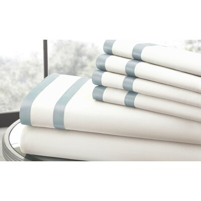 1000 Thread Count Sheet Set Size: Queen, Color: White/Blue