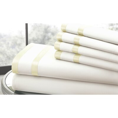 1000 Thread Count Sheet Set Size: King, Color: Ivory & White