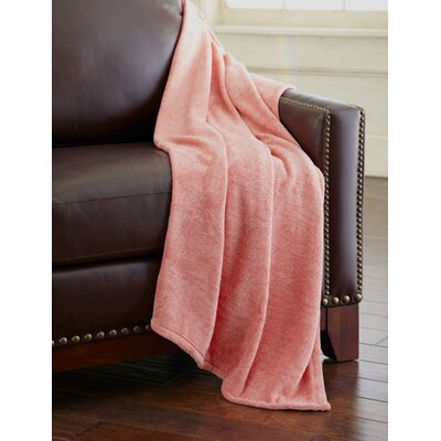 Heathered Solid Fleece Throw Blanket Color: Brick