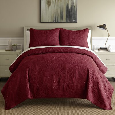 Auberkonos 3 Piece Reversible Quilt Set Size: Queen, Color: Burgundy/White