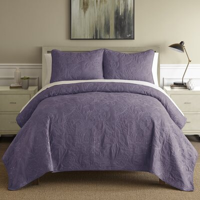 Auberkonos 3 Piece Reversible Quilt Set Size: Queen, Color: Dusty Plum/White