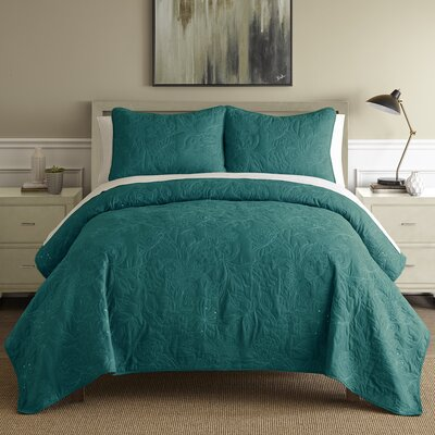 Auberkonos 3 Piece Reversible Quilt Set Size: King, Color: Teal/White