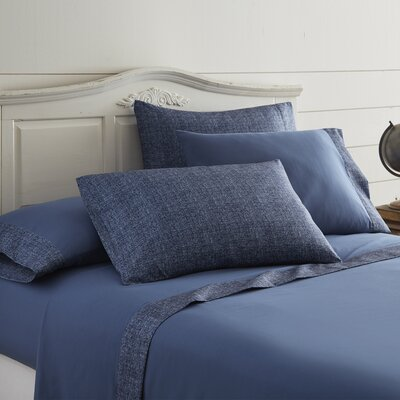 Bloomberg Printed Sheet Set Size: Twin, Color: Indigo