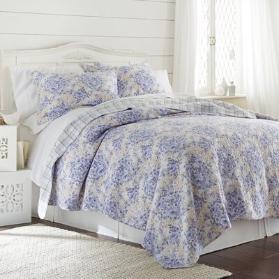 Fowler 100% Cotton 3 Piece Reversible Quilt Set Size: Full/Queen