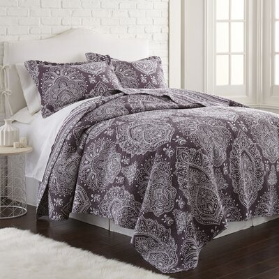 Mccormick 100% Cotton 3 Piece Reversible Quilt Set Size: King