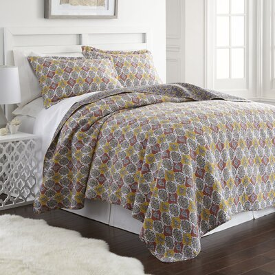 Nicholson 100% Cotton 3 Piece Reversible Quilt Set Size: King