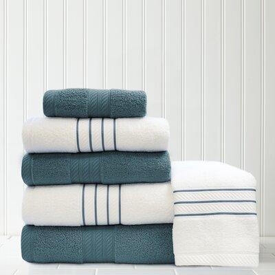 Stripe and Contrast 6 Piece Towel Set Color: Deep Sea Blue/White