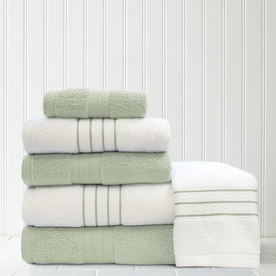 Stripe and Contrast 6 Piece Towel Set Color: Soft Jade/White