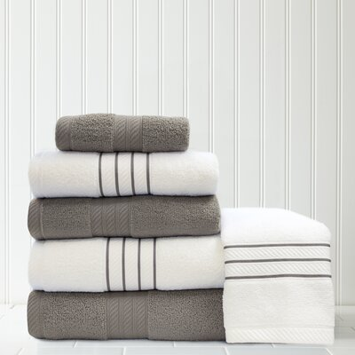 Stripe and Contrast 6 Piece Towel Set Color: Platinum/White