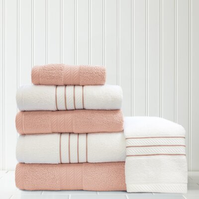 Stripe and Contrast 6 Piece Towel Set Color: Rose Quartz/White