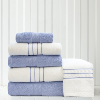 Stripe and Contrast 6 Piece Towel Set Color: Serenity Blue/White