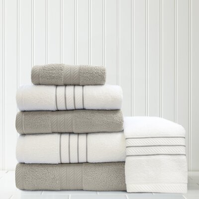 Stripe and Contrast 6 Piece Towel Set Color: Silver/White