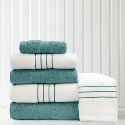 Stripe and Contrast 6 Piece Towel Set Color: Teal/White