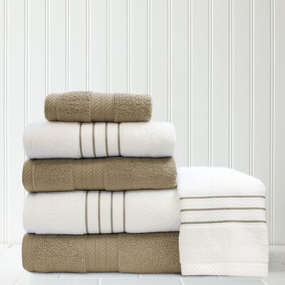 Stripe and Contrast 6 Piece Towel Set Color: Taupe/White