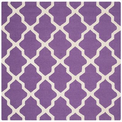 Martins Purple / Ivory Area Rug Rug Size: Square 8