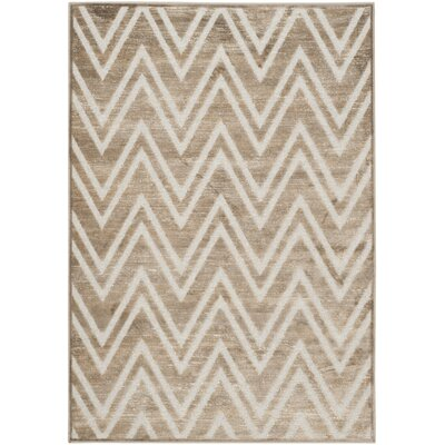 Gabbro Brown/Ivory Area Rug Rug Size: Rectangle 53 X 76
