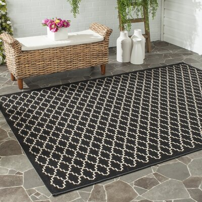 Bexton Black / Beige Outdoor Area Rug Rug Size: Rectangle 4 x 57