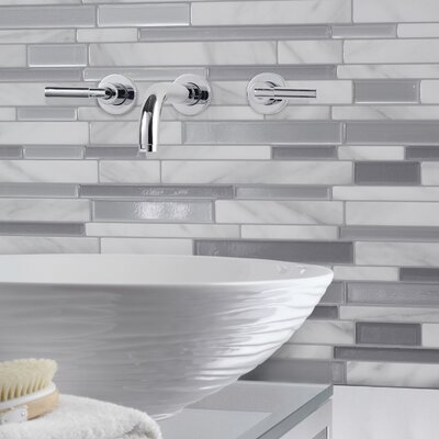 "Milano Carrera Dual Finish 11.55"" x 9.63"" Peel & Stick Mosaic Tile in White and Gray SM1060-4"