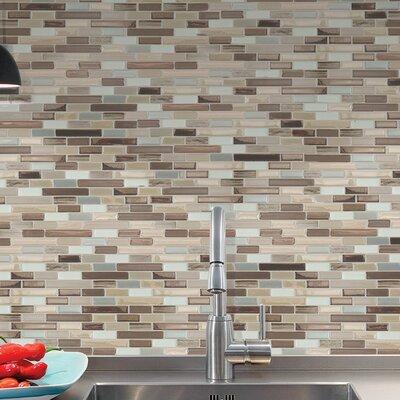 """Ilkeston Muretto Durango 10.20"""" x 9.10"""" Peel & Stick Wall Tile in Beige, Gray & Silver SM1053-0"""