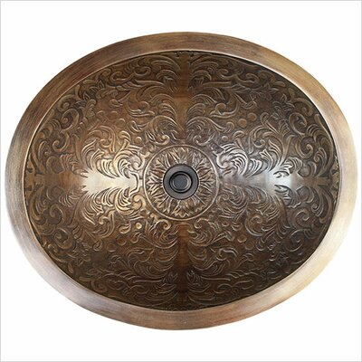 Brocade Metal Oval Drop-In Bathroom Sink Finish: Antique Bronze