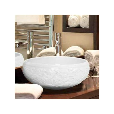 Hand Carved Circular Vessel Bathroom Sink Finish: White Glaze