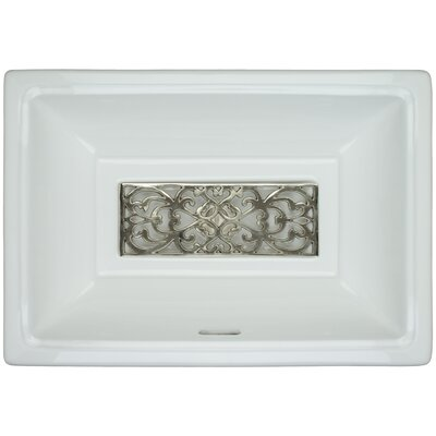 Porcelain Filigree Grate Undermount Bathroom Sink with Overflow Finish: Polished